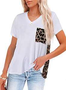 Chase SecretWomen's Crew Neck Short Sleeve Casual Loose Classic Tops Women's Summer Shirt White Medium