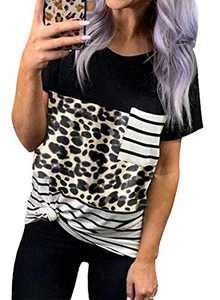 Chase Secret Womens Short Sleeves Crewneck Leopard Striped Camo Pocket T-Shirt Loose Fit Color Block Tops Leopard XX-Large
