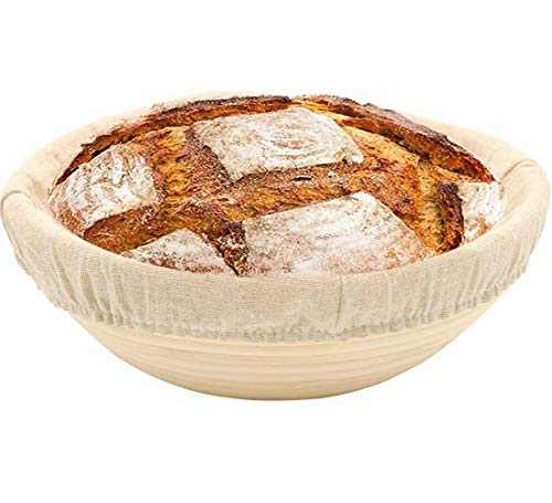 10 Inch Round Bread Banneton Proofing Basket for Sourdough, Rising Dough Baking Bowl with Linen Liner, Great Gifts for Sourdough Starter and Making Artisan Homemade Bread, NO Proofing kit