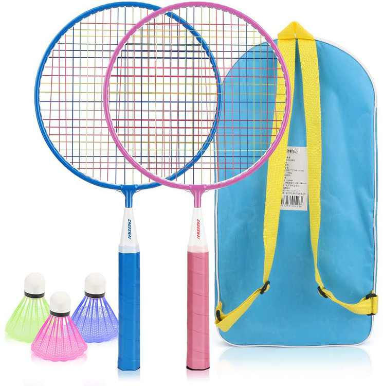 Badminton Set for Kids Powcan Lightweight Badminton Kit for Children Badminton Toys with 2 Badminton Rackets and 3 Shuttlecocks for Indoor Outdoor Backyards Lawn Beach Sports Game, Included Carry Bag