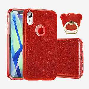 """ABenkle Compatible with iPhone XR Case Glitter Slim Fit Protective Case for Girls & Women Bling Sparkle Soft Shell High Impact Hybrid Shockproof Rubber Bumper Cover for iPhone XR 6.1""""- 2018, Red"""