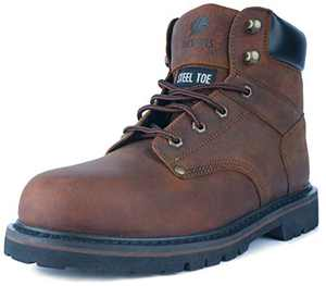 DEVENS Men's 6 inch Leather Steel Toe Work Boots, Electric Hazard Protection, Non Slip Industrial Construction Safety Boots (Brown, Numeric_13)