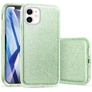 iPhone 11 Case, ABenkle Slim Fit Protective Case for Girls and Women Bling Glitter Sparkle Soft Shell High Impact Hybrid Shockproof Rubber Bumper Cover for iPhone 11 6.1-Inch 2019, Green