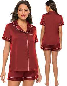Womens Short Sleeve Satin Sleepwear Button Down Soft Silk Pj Lounge Sets Wine Red L