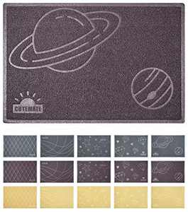 "Cat Litter Mat, 35"" x 23"", Premium Durable Soft Cat Litter Box Mat, Traps Litter from Box, Multi Use Door Mat, Welcome Mat, Kitchen Mat, Bath Mat, Floor Mat, Cat or Dog Food Mat (Universe, Brown)"