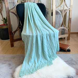 "DISSA Knitted Blanket Super Soft Textured Solid Cozy Plush Lightweight Decorative Throw Blanket with Tassels Fluffy Woven Blanket for Bed Sofa Couch Cover Living Bed Room (Light Mint, 50""x60"")"