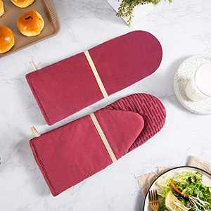 HARORBAY Silicone Oven Mitts for Baking, Long Oven Gloves with Non-Slip Heat Resistant to 500 Degrees Surface, Kitchen Mitts for Women, Men (2 Pack, Ertaree)