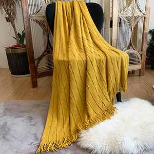 """DISSA Knitted Blanket Super Soft Textured Solid Cozy Plush Lightweight Decorative Throw Blanket with Tassels Fluffy Woven Blanket for Bed Sofa Couch Cover Living Bed Room (Mustard Yellow, 50""""x60"""")"""