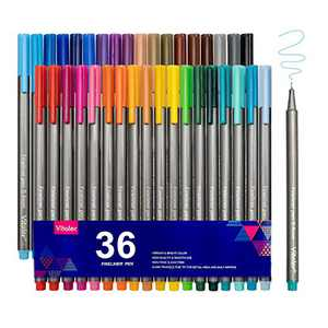VITOLER Colored Pens, Fine Line Drawing Marker 36 Colors Triangular Shaft Fineliner Pen Perfect for Planner Bullet Journal Coloring Sketch Drawing,Note Taking