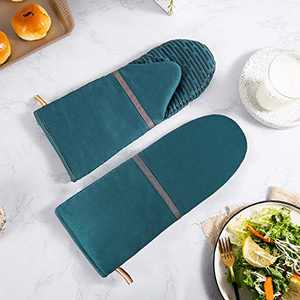 HARORBAY Silicone Oven Mitts for Baking, Long Oven Gloves with Non-Slip Heat Resistant to 500 Degrees Surface, Kitchen Mitts for Women, Men (2 Pack, Green)