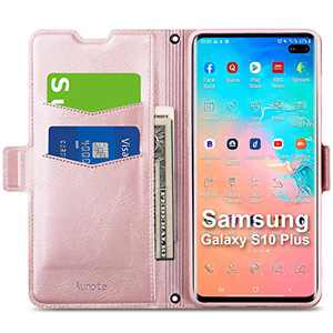 """Aunote Samsung S10 Plus Case, Galaxy S10+ Case Wallet, Slim Flip Folio PU Leather Samsung Galaxy S10 Plus Case with Card Slot, S10 Plus Phone Case Full Cover Protection for Galaxie 6.4"""" Rose Gold"""