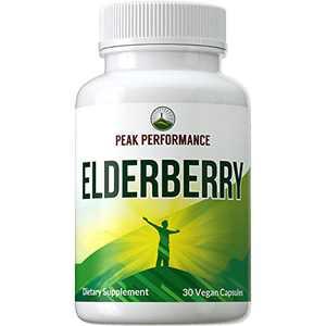 Elderberry Vegan Capsules Made with Organic Elderberry by Peak Performance. Natural Austrian Grown Black Elderberry Supplement from Sambucus Nigra Fruit Extract Pills for Adults, Women, Men.
