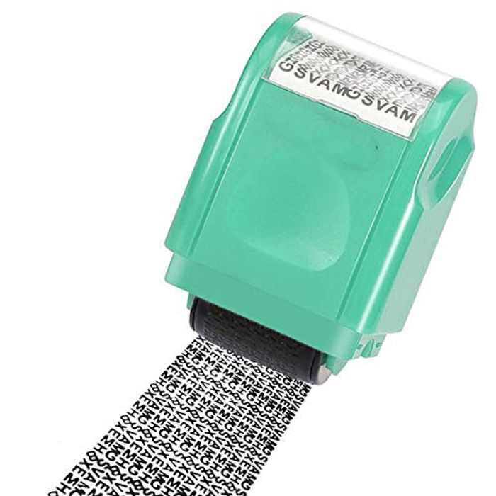 DERCLIVE Identity Privacy Protection Messy Code Roller Stamp Use for Information Coverage Secure Identity Theft Data Protection,S