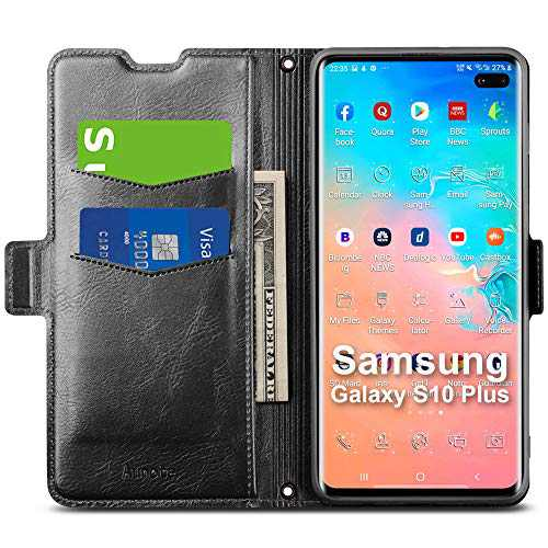 Aunote Samsung Galaxy S10 Plus Wallet Case, Galaxy S10 Plus Flip Case with Card Slots, Magnetic Closure, Kickstand, TPU+PU Leather Folio Phone Cover Full Protective for Samsung Galaxy S10 Plus. Black
