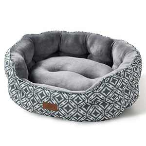 Bedsure Small Dog Bed for Small Dogs Washable - Cat Bed for Indoor Cats, Round Super Soft Plush Flannel Puppy Beds, Slip-Resistant Oxford Bottom, Coin Print Grey