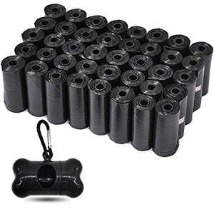 TYONMUJO Dog Poop Bags Wholesale Disposable Pet Waste Bags with Dispenser 180 Bags 12 Rolls+1 Dispenser Black U12