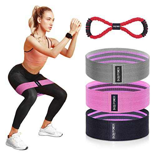 BQYPOWER Resistance Bands for Legs and Butt, Exercise Loop Bands Workout Booty Band Hip Bands Fitness Bands Set Non Slip Fabric Wide Squat Glute Band 8 Word Rally Home Gym Resistance Bands for Women