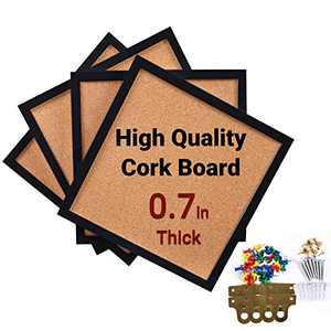 """CRCHOM Cork Board 4 Pack Framed Bulletin Board 12""""X 12"""" Thick Square Wall Tiles,Black Wooden Message Tackboard for Home,Office and School(Set Including 40 Push Pins, Hardware )"""