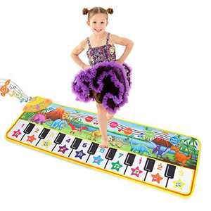 "Musical Piano Mat 43"" x 14"" Keyboard Play Mat Kids Piano Mat Dinosaur Dance Mat Electronic Piano Carpet for Kids Toddler Boys Girls Aged 3-8 Years Old"
