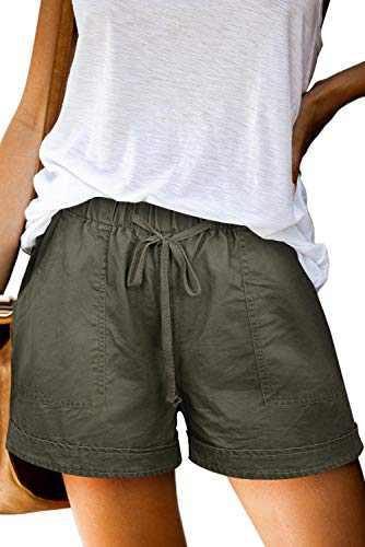 Heymiss Womens Casual Drawstring Elastic Waist Tencel Pocketed Beach Summer Shorts Petite Daily Wear Shorts Sage Green XXL