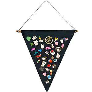 Wall Display Banner Enamel Pin Banner Triangle Canvas Flag for Label Badge Buttons Black