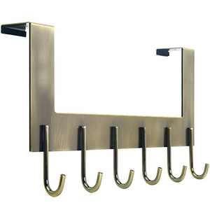 WEBI Over The Door Hooks for Hanging,Door Hanger:Over The Door Towel Rack,Over The Door Coat Rack Door Coat Hanger,6 Hooks for Hanging Clothes,Towels,Hats,Back of Bathroom,Bronze
