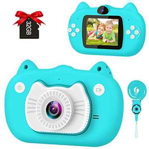 GKTZ Kids Camera Children Digital Camera Dual Lens Video Cameras 1080P HD 12MP Rechargeable Selfie Camera 2.0 Inch IPS Screen with 32G SD Card for Girls Boys 3-10 Years Gifts (Blue)