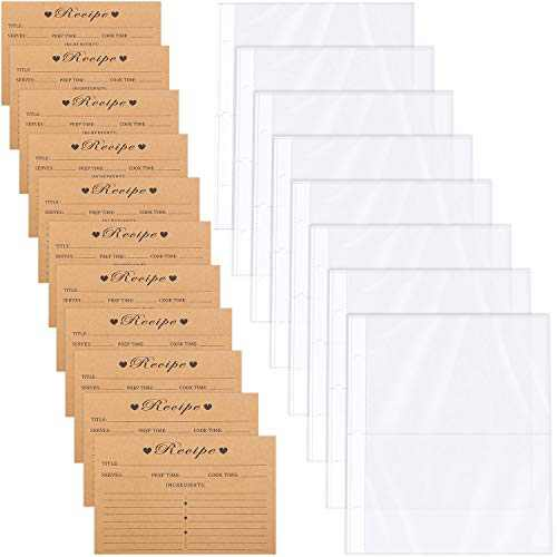 60 Pieces Kraft Paper Double Sided Recipe Cards 4 x 6 Inch, with 25 Count Recipe Card Protectors Page Refill Sheets, 2 Pockets Per Page