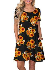 WNEEDU Women's Summer Casual T Shirt Dresses Short Sleeve Swing Dress with Pockets (3XL, M Sun Flower)