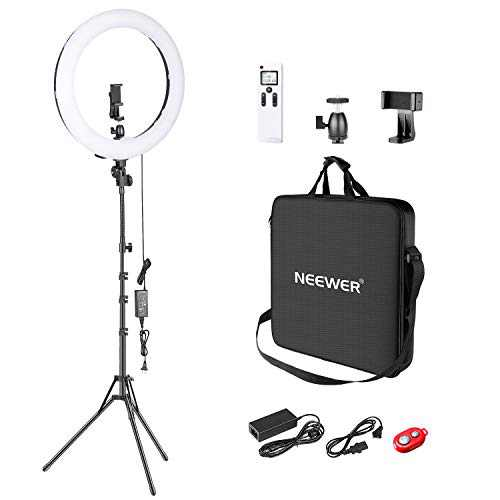 Neewer Advanced 2.4G 18-inch LED Ring Light, Bi-Color 3200-5600K Dimmable with LCD Screen and 2.4G Wireless Remote,Reverse Light Stand, Filter and Carrying Bag for Portrait Photography Video Shooting