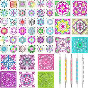 53 Pieces Mandala Dot Painting Templates Stencils Kit Various Sizes and Shapes Mandala Templates with Acrylic Dotting Pens for DIY Art Project Painting and Wall Painting Art
