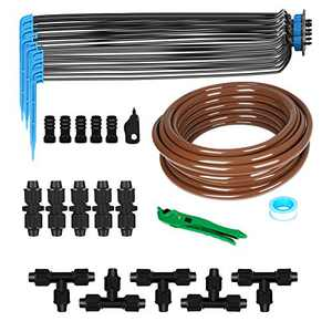 "KORAM Drip Irrigation Kits, 1/2"" 50ft Tubing Drip 7PCS 4-Head Drip Arrow Automatic Irrigation Equipment Set with Hose for Patio, Flower Bed, Greenhouse, Lawn, Greenhouse Drip Irrigation Set"