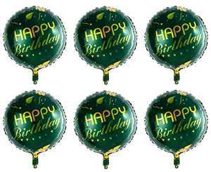 "Jungle Green Birthday Balloons Men Boys, Happy Birthday Sign Balloons for Birthday Party - 18"" Round Self Seal Foil Mylar Balloons with Swirls Décor 6Pcs"