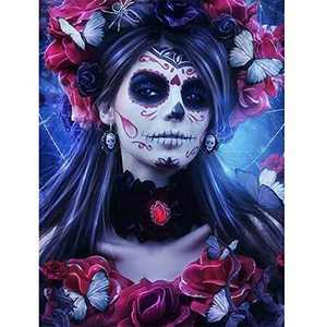 5D Diamond Painting Kits for Adult, Round Full Drill Crystal Rhinestone Embroidery Paint with Diamonds Arts Craft, Gift for Family Friends Home Wall Decor 11.8×15.7 Inches(Magic Sugar Skull Girl)
