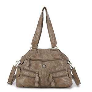 angel kiss Satchel Handbag for Women, Ultra Soft Washed Vegan Leather Crossbody Bag, Shoulder Bag, Tote Purse (KL6001-13KHAKI)