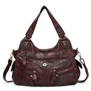 angel kiss Satchel Handbag for Women, Ultra Soft Washed Vegan Leather Crossbody Bag, Shoulder Bag, Tote Purse (KL6004-10COFFEE)
