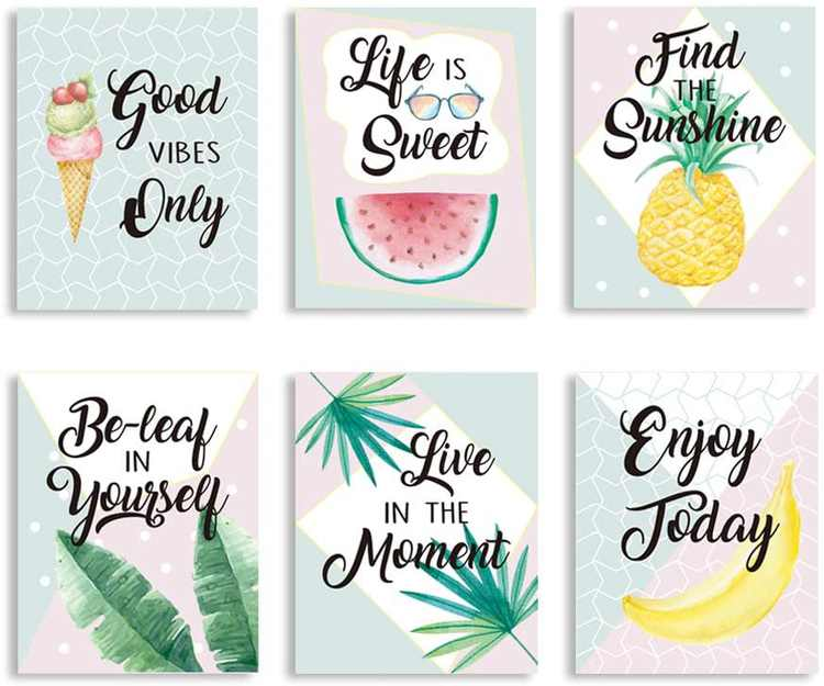 """CHDITB Summer Fruit Art Print, Tropical Leaves Fruits Art Painting,Set of 6 Art Posters(8"""" x10"""" )Colorful Summer Theme Pineapple Watermelon Banana Canvas Painting Poster For Bedroom Living Room Decor"""