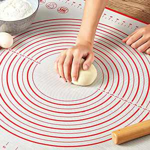 "Pastry Mat for Rolling Dough, WeGuard 20x16"" Large Silicone Pastry Kneading Mat Board with Measurements Marking BPA Free Food Grade Non-stick Non-slip Rolling Dough Baking Mat"