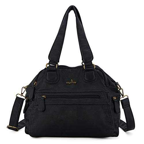 angel kiss Satchel Handbag for Women, Ultra Soft Washed Vegan Leather Crossbody Bag, Shoulder Bag, Tote Purse (KL6014-10BLACK)