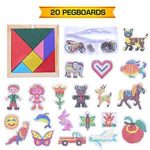 Fuse Beads Pegboards for Kids Christmas Gifts, FANGZHIDI 20 Pcs Iron Melt Bead Patterns Templates- Plenty of Kits