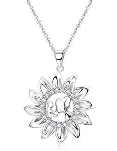Sllaiss S925 Sterling Silver Mother Necklace Cubic Zirconia Mother Sun Pendent Necklace Jewelry Mother's Day Gifts for Mum (A: Silver Tone)