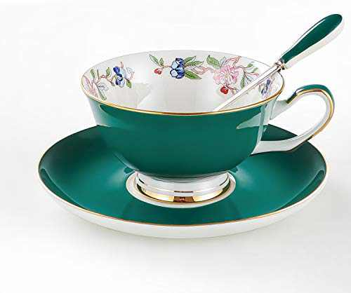 Bone China Cup and Saucer Set with Spoon Vintage Porcelain Coffee Cup Set, Floral Tea Cup Set with Gold Trim and Gift Box, 7.1oz.