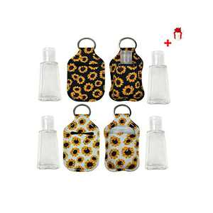 4Sets Empty Travel Size Bottle and Neoprene Keychain Holder,Chapstick/Hand Sanitizer Holder Keychain,Hand Sanitizer Keeper,30 ML Flip Cap Reusable Bottles for Soap,Lotion,Liquid