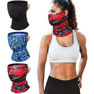 3 Pack Neck Gaiter Face Mask Men Women TOOVREN Cooling Bandana Neck Gaiter with Ear Loops Balaclava UPF 50 UV Protection Breathable Fishing Motorcycle Lightweight Summer Scarf Headband Outdoors