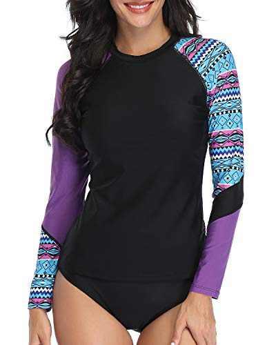 Daci Women Purple Geometry Rash Guard Long Sleeve Two Piece Swimsuit Surfing Swim Shirt UPF 50+ S