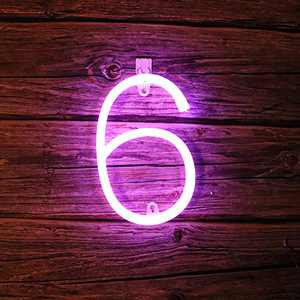 AMEVRGTHS Neon Signs Light up Number 6 LED Custom Purple Letters Neon Sign, USB/AA Battery-Powered for Wall Decor Birthday Party Wedding Christmas(8.6x7.0x0.13inch)