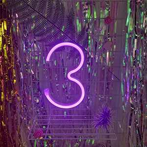 AMEVRGTHS Neon Signs Light up Number 3 LED Custom Purple Letters Neon Sign, USB/AA Battery-Powered for Wall Decor Birthday Party Wedding Christmas(8.6x7.0x0.7inch)