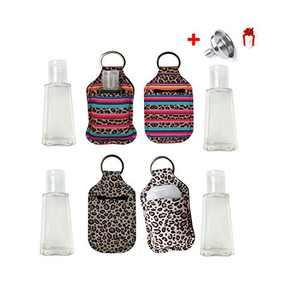 4Sets Empty Travel Size Bottle and Neoprene Keychain Holder,Chapstick/Hand Sanitizer Holder Keychain,Hand Sanitizer Keeper,30 ML Flip Cap Reusable Bottles for Soap,Lotion,Liquid