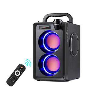 Bluetooth Speakers, 20W Portable Bluetooth Speaker with Subwoofer, LED Lights, EQ, Booming Bass, Bluetooth 5.0 Wireless Stereo Loud Outdoor/Indoor Party Boombox Speakers for Home, Camping, Travel