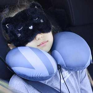 NICE COM SUPPLY - Kids Travel Pillow - Neck Pillow for Boy and Girls Kid Size & Eyes Cover - Airplane Car Long Travel Neck Pillow Kids Children and Teens - Age 3-12 Old/Gray/Pink or Sets